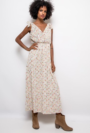 Dress with knot straps,  print. The model measures 177cm and wears T1=S. Length:134cm