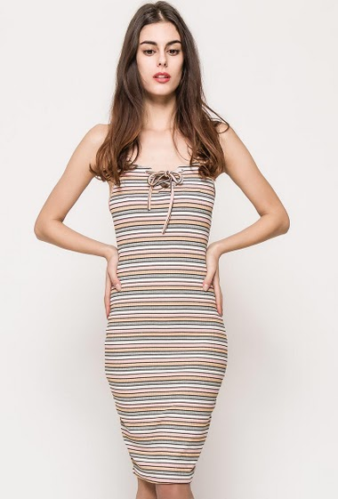 Rib dress, straps, lace-up collar, stripes with lurex. The model measures 176cm and wears S/M. Length:95cm