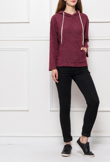 Fleece sweater with pocket and hood
