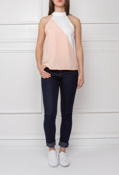 Color block top with stand-up collar