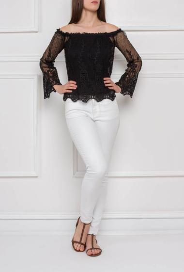 Lace top with cold shoulder, sold without tank top