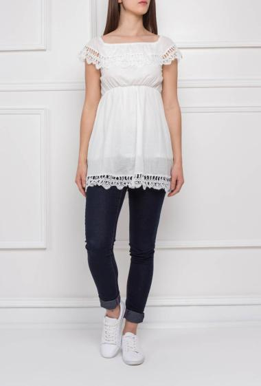 Bohemian top with lace, empire waist