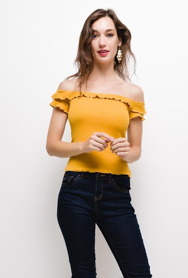 Frill top,The model measures 177cm and wears S. Length:45cm