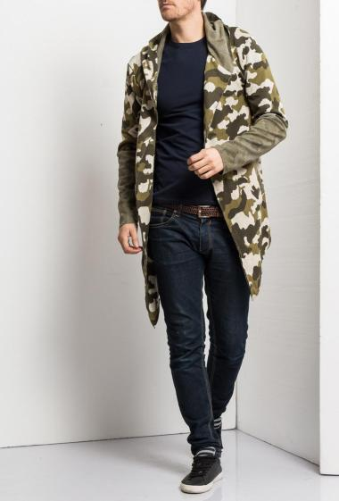 Long and open cardigan in fleece with camouflage pattern, casual fit