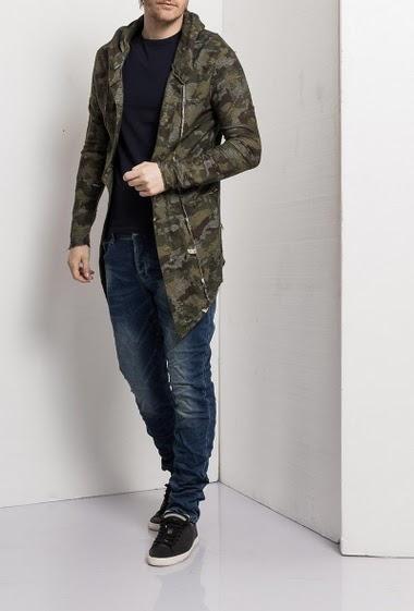 Gilet ouvert à capuche, motif camouflage, coupe longue