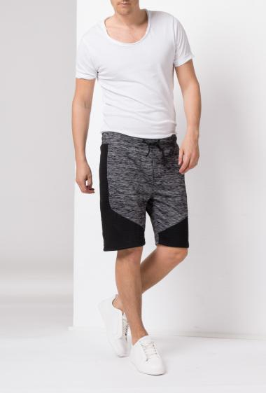 Casual shorts with elastic waist and ties, topstiched yoke on the sides