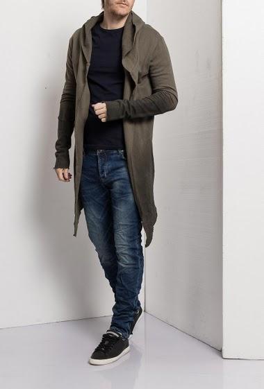Open sweatshirt with hood, pockets, asymmétric fit, fabric  colour gradients