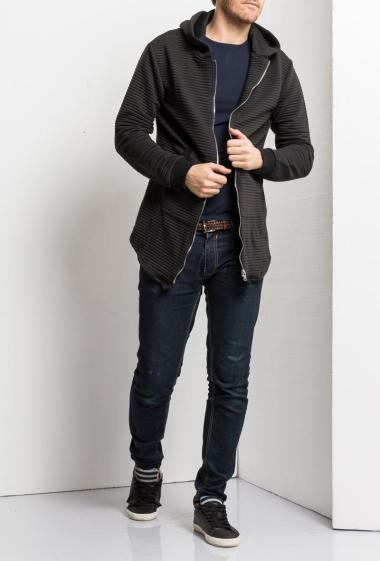 Cardigan with stripes and zip on the front, hood and pocket