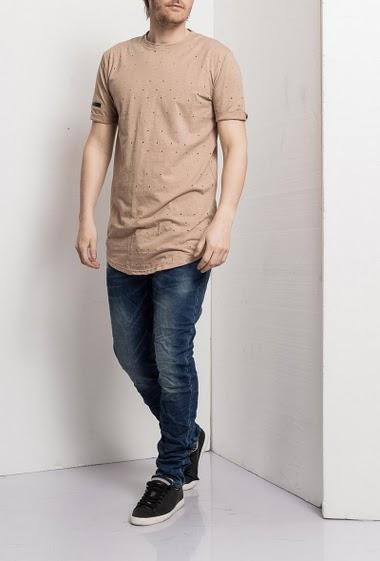 T-shirt ajouré, manches courtes, zip au dos