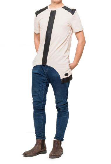 T-shirt with yoke in imitation leather, short sleeves
