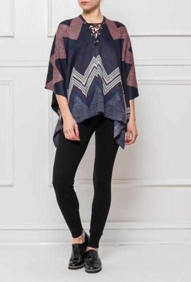 Poncho in knit, collar with lacing, casual fit