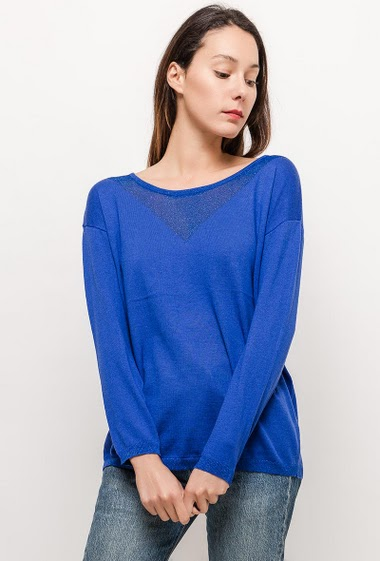 Sweater with transparent detail and lurex