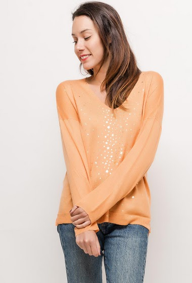 Sweater with gold printed stars