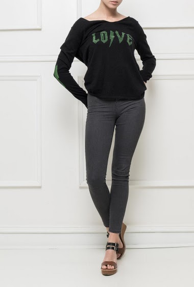 Soft kni sweater with V neck, LOVE decorated with strass, fancy elbows, basic fit