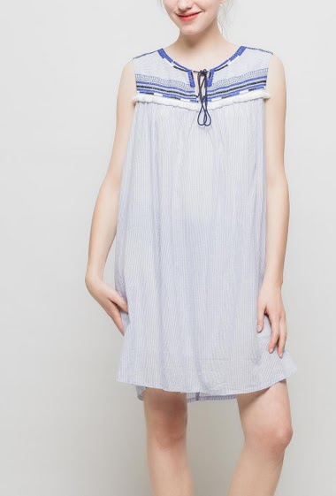 Striped sleeveless dress with embroideries, soft fabric