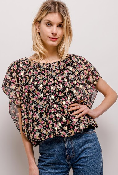 Blouse with printed flowers, gold pattern. The model measures 170cm, one size corresponds to 10/12(UK) 38/40(FR). Length:61cm