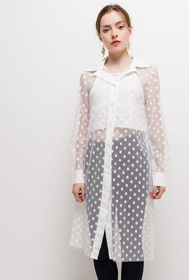 Spotted tulle long shirt. The model measures 168cm, one size corresponds to 10/12(UK) 38/40(FR). Length:100cm