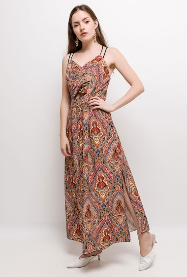 Maxi printed dress, cross straps. The model measures 168cm, one size corresponds to 10/12(UK) 38/40(FR). Length:135cm