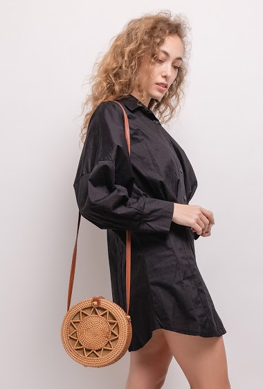 Shirt dress with puff sleeves. The model measures 171cm and wears S. Length:79cm
