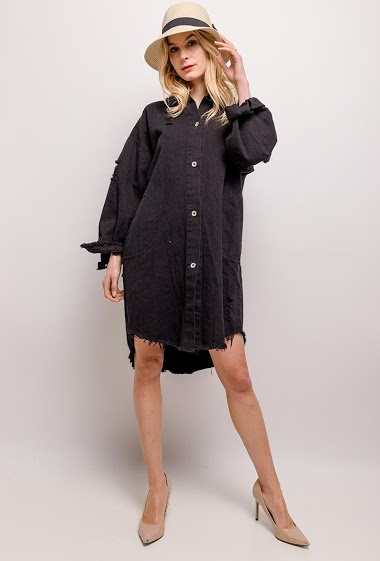 Dress with ripped hem. The model measures 170cm, one size corresponds to 10/12(UK) 38/40(FR). Length:95cm