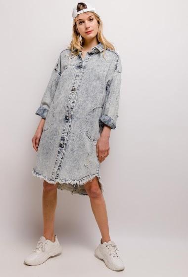 Denim dress. The model measures 170cm, one size corresponds to 10/12(UK) 38/40(FR). Length:107cm