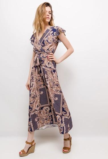 Wrap dress, ruffles. The model measures 171cm, one size corresponds to 10/12(UK) 38/40(FR). Length:130cm