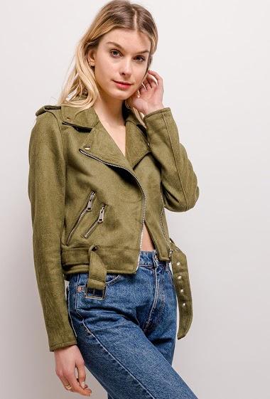 Biker jacket, belt. The model measures 170cm and wears S. Length:48cm