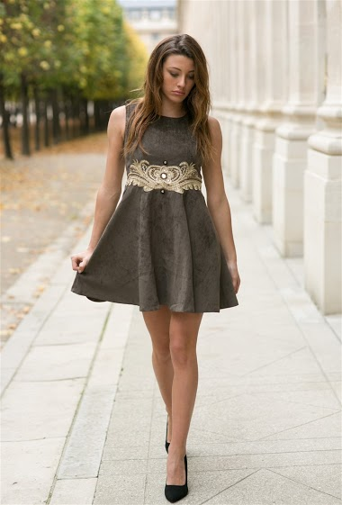 Velvet style dress with embroidery