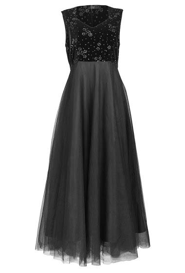 Glittery velvet dress, long tulle skirt