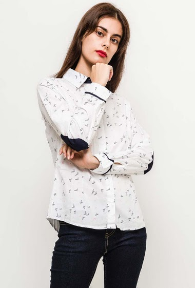 Shirt with elbow patch, printed birds, slim fit. The model measures 176cm and wears S. Length:70cm