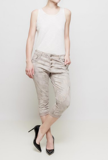 Pantacourt à motif camouflage, poches, coupe décontractée, tissu stretch et pailleté