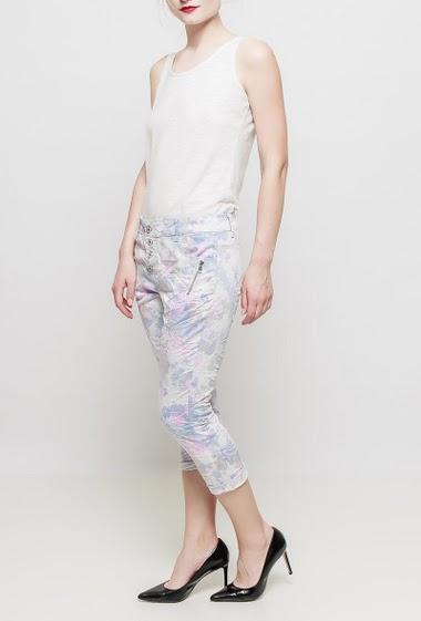 Pantacourt avec fleurs imprimées, poches ornées d'un zip décoratif, coupe décontractée
