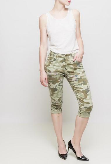 Pantacourt à motif camouflage, fleurs imprimées, poches, coupe décontractée, tissu stretch
