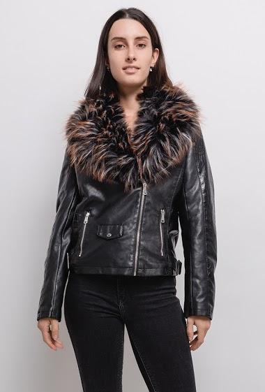 Biker jacket in fake leather