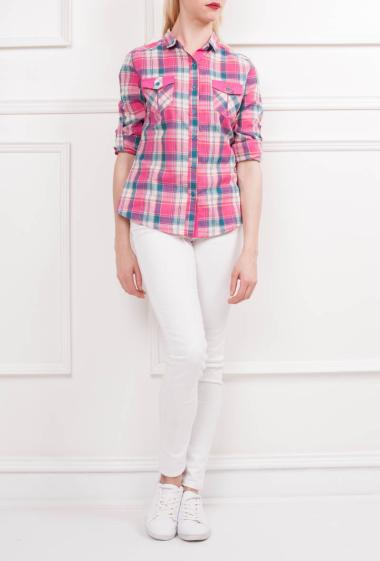 Cotton shirt with two chest pockets, roll-up sleeves