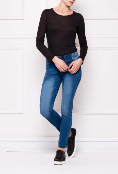Jegging en jean délavé à taille élastique et boutonnée