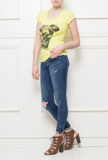 T-shirt printed with an elephant, lace effect, short sleeves, soft jersey