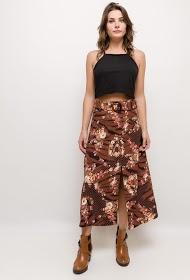 101 IDÉES printed long skirt