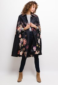 101 IDÉES floral poncho with collar