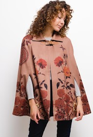 101 IDÉES printed poncho with collar