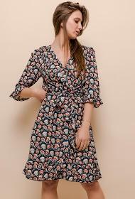 101 IDÉES vestido cruzado estampado
