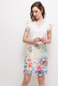 101 IDÉES robe en dentelle imprimée