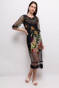 101 IDÉES robe imprimée avec résille