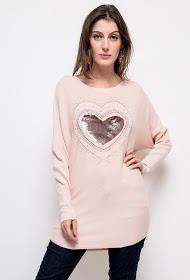 ALINA camisola love com lantejoulas