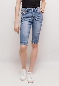 ALINA denim shorts with leopard detail