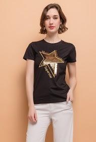 ALINA t-shirt com estrela em lantejoulas