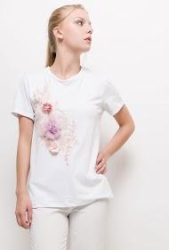 ALINA t-shirt mit gestickten blumen und 3d