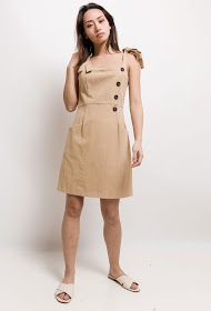 BACHELORETTE buttoned dress with knot braces