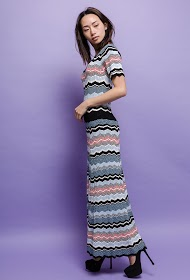 BACHELORETTE long dress zig zag