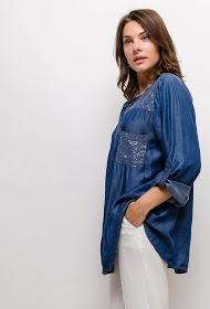 BELLOVE denim shirt with sequins
